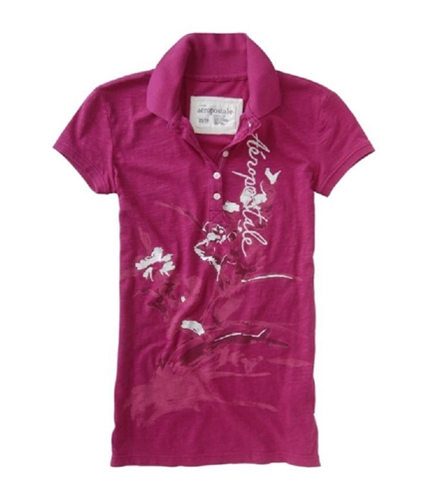 Aeropostale Womens Embroidered Polo Shirt berry XL