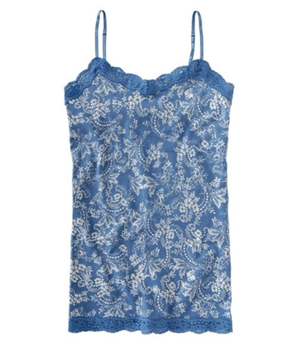 Aeropostale Womens Fitted Lace Floral Cami Tank Top cadetblue L