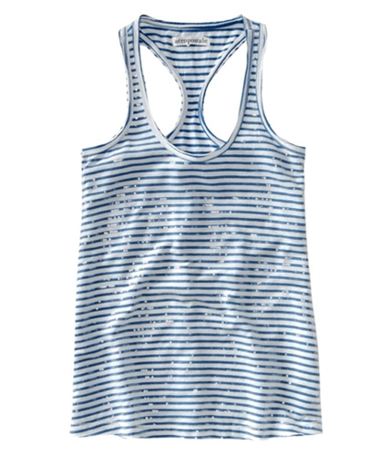 Aeropostale Womens Loose Fit Sequence Stripe Tank Top cadetblue XL