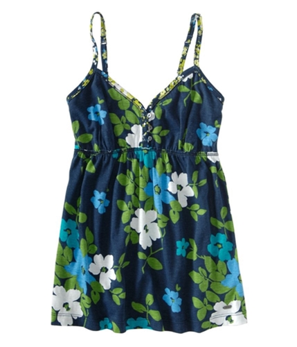 Aeropostale Womens Floral Baby Doll Cami Tank Top navyblue S