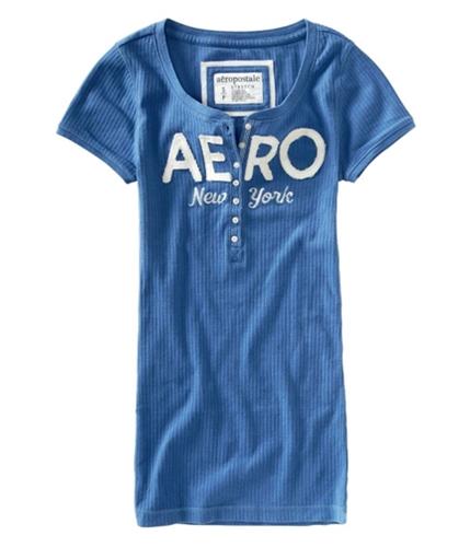 Aeropostale Womens New York Stretch Henley Shirt cadetblue XS