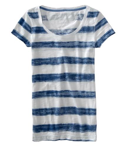 Aeropostale Womens V-neck Stripe Graphic T-Shirt cadetbluewhite M