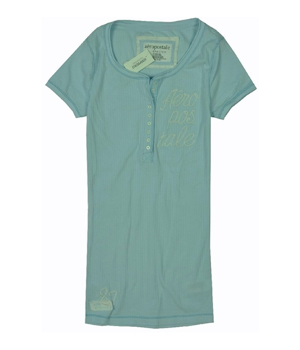Aeropostale Womens Embroidered Henley Shirt paleblue M