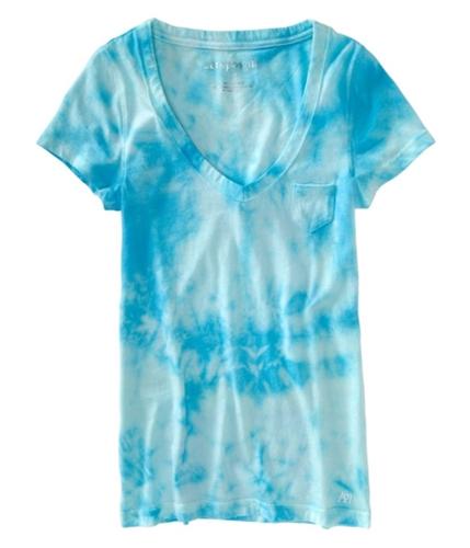 Aeropostale Womens Clouded Pocket Graphic T-Shirt blueduaqua XS