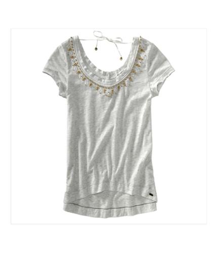 Aeropostale Womens V-neck Beaded Graphic T-Shirt lightestgray XS