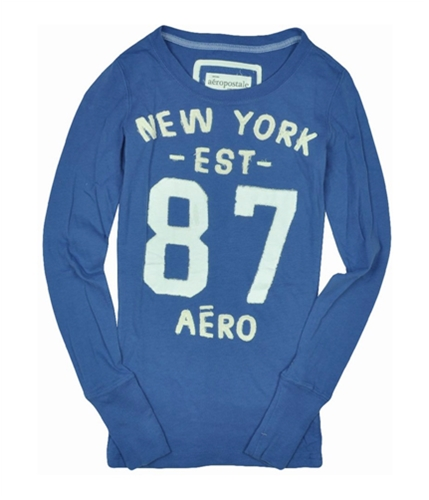 Aeropostale Womens Embroidered Long Sleeve Graphic T-Shirt cadetblue XS