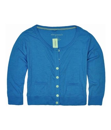 Aeropostale Womens Cardigan Cropped Button Up Shirt heavenlyblue L