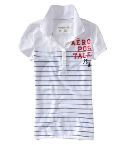 Aeropostale Womens Ny Stripe Polo Shirt cadetbluewhite XS
