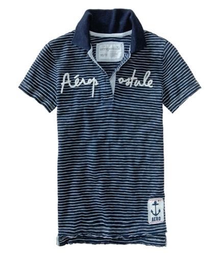 Aeropostale Womens Stripe Embroidered Polo Shirt navyblue XS
