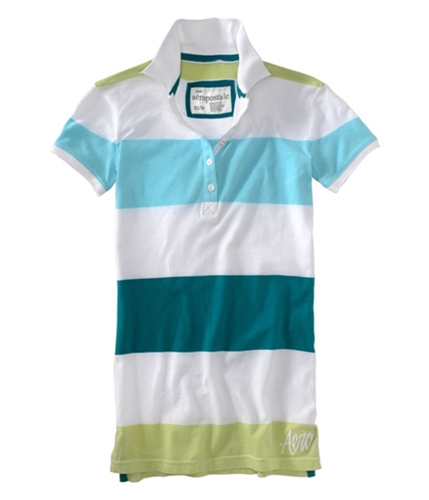 Aeropostale Womens Embroidered Stripe Polo Shirt tealoc XS