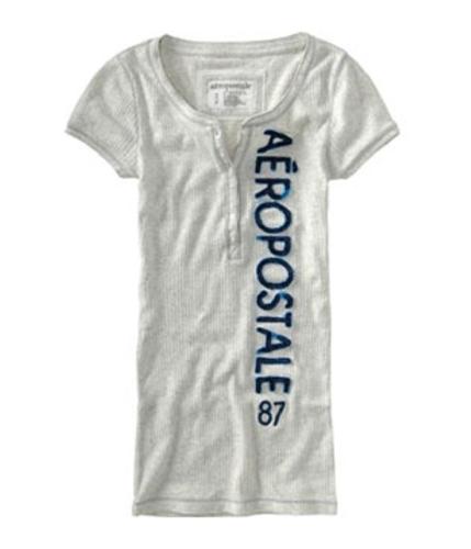 Aeropostale Womens 87 Sleeve Henley Shirt lightestgray L