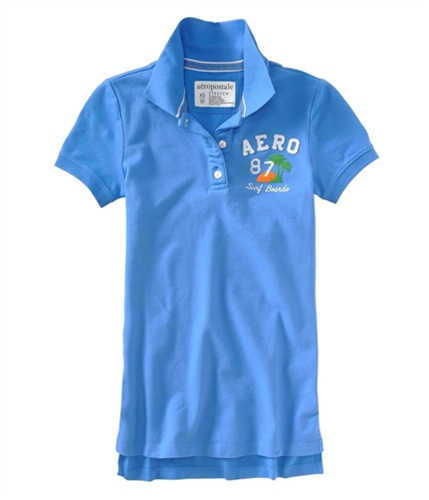 Aeropostale Womens Aero 87 Surf Polo Shirt heavenlyblue XS