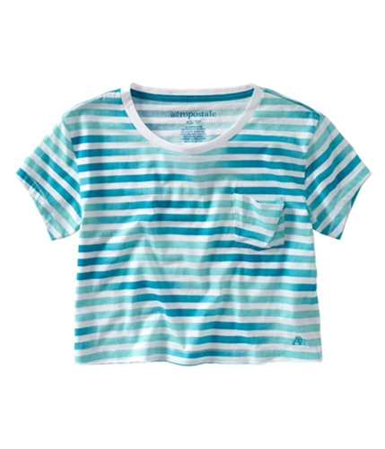 Aeropostale Womens Stripe Cropped Pocket Graphic T-Shirt surf XS