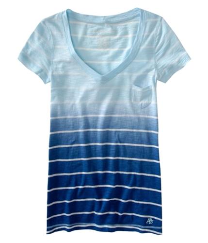 Aeropostale Womens Stripe V-neck Pocket Graphic T-Shirt mirage XS