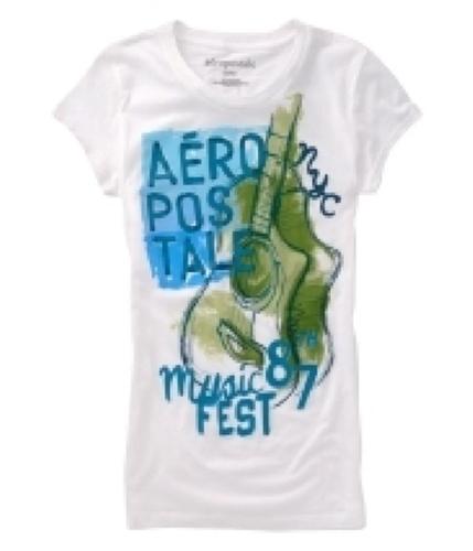 Aeropostale Womens Peace & Love Graphic T-Shirt whiteblcaqua M