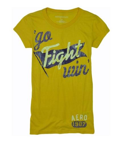Aeropostale Womens Go Fight Win Basic T-Shirt blondeyellow S