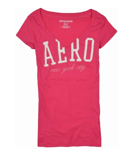 Aeropostale Womens New York City V-neck Graphic T-Shirt petuniapink XS