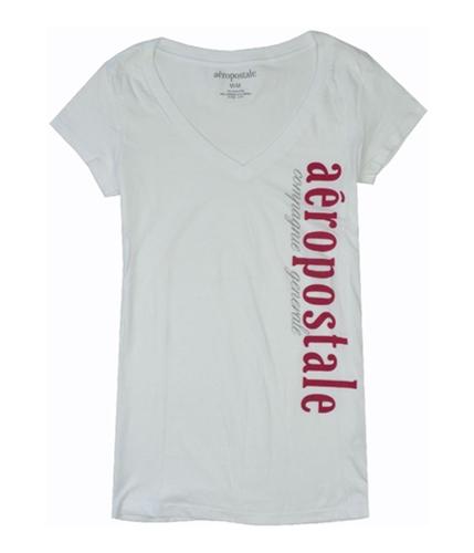 Aeropostale Womens Compagnie V-neck Graphic T-Shirt bleachwhite M