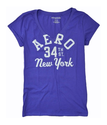 Aeropostale Womens V-neck Aero 34th St Ny Graphic T-Shirt moonpurple XL