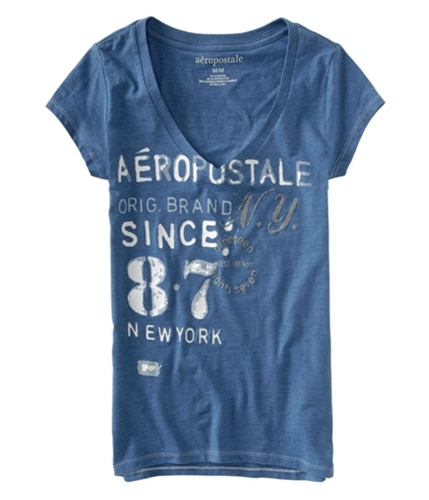 Aeropostale Womens East Hampton Graphic T-Shirt cadetblue XS