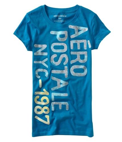 Aeropostale Womens Sparkles Nyc Graphic T-Shirt bluedu XS