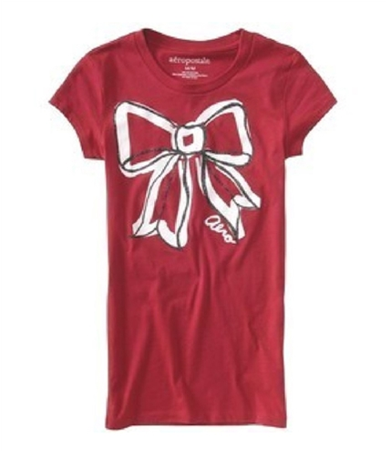 Aeropostale Womens Sparkling Bow Graphic T-Shirt cherryred S