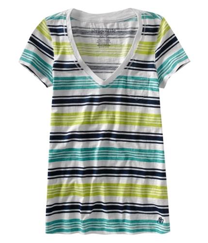 Aeropostale Womens Stripe Chest Pocket Graphic T-Shirt navyni XS