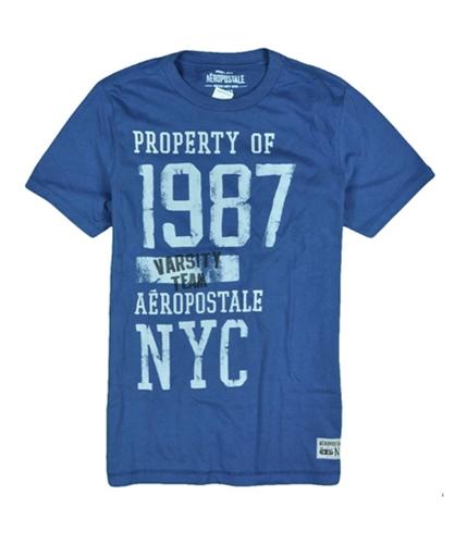 Aeropostale Mens 1987 Varsity Team Nyc Graphic T-Shirt bluedu S