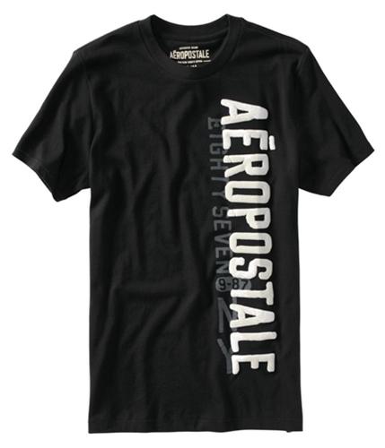 Aeropostale Mens Puff Paint Graphic T-Shirt black S