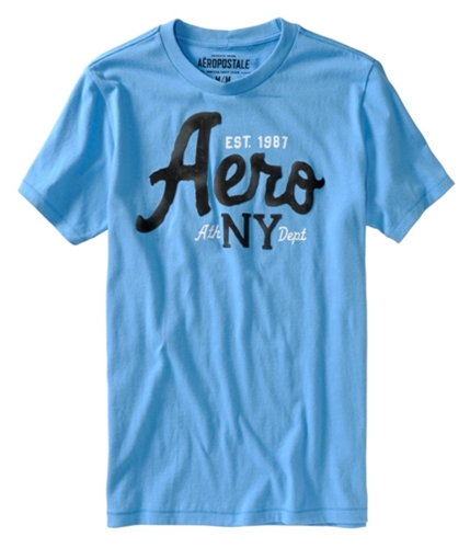 Aeropostale Mens Aero Ny Puff Pain Graphic T-Shirt bluejay S