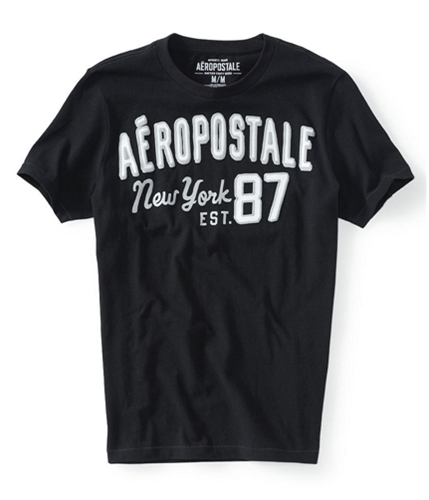 Aeropostale Mens New York 87 Puff Paint Graphic T-Shirt black XS