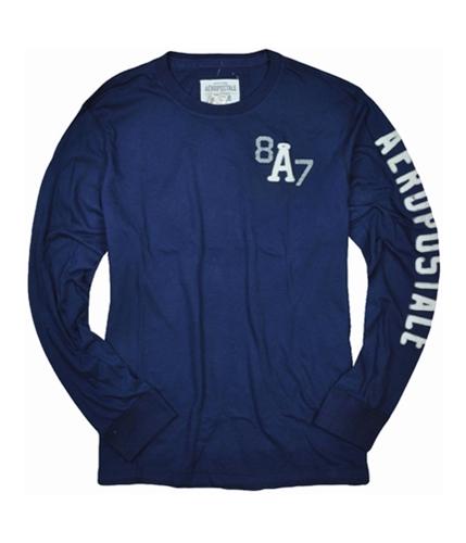 Aeropostale Mens Long Sleeve A87 Graphic T-Shirt navyblue 2XL