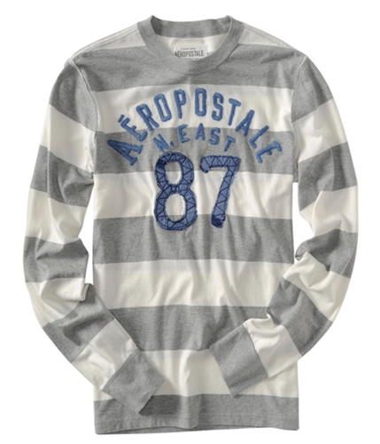 Aeropostale Mens N. East #87 Long Sleeve Rugby Graphic T-Shirt lththrgray L