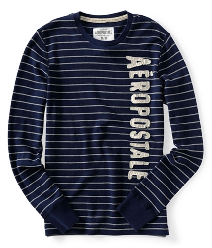 Aeropostale Mens Stripe Thermal Sweater navynightblue XS