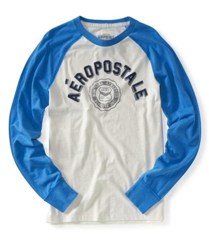 Aeropostale Mens Athletic Long Sleeve Graphic T-Shirt lightblue XS