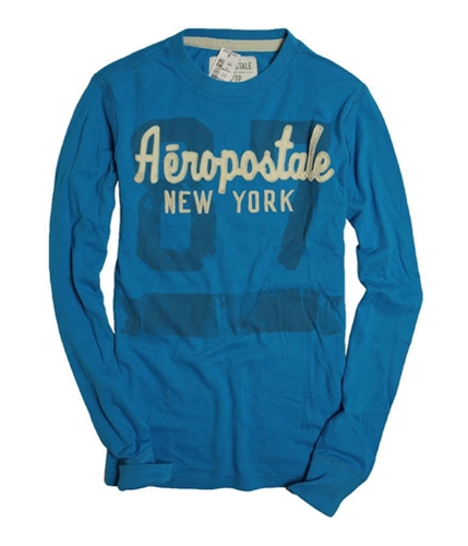 Aeropostale Mens New York Embellished Graphic T-Shirt bluyel XS