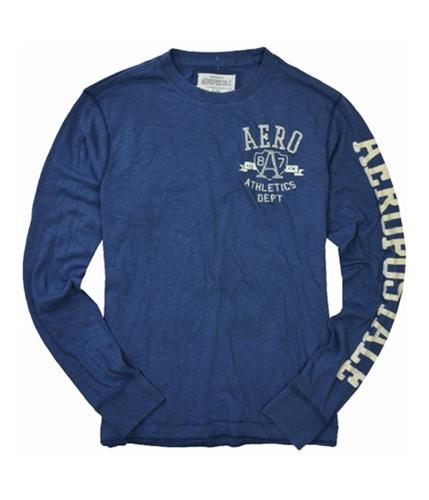 Aeropostale Mens Aero A87 Long Sleeve Graphic T-Shirt bluedu L