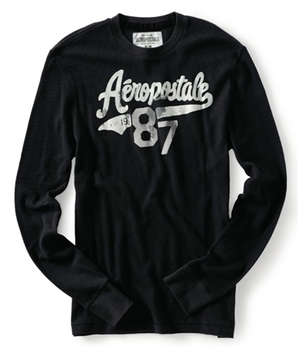 Aeropostale Mens Est 1987 Thermal Sweater black XS