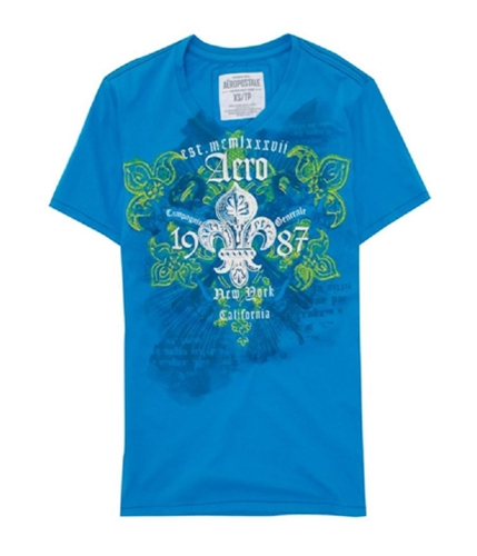 Aeropostale Mens Aero 1987 Embroidered Graphic T-Shirt blueyellowaqua L