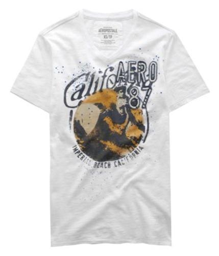 Aeropostale Mens Cali 87 V-neck Embroidered Graphic T-Shirt bleachwhite L