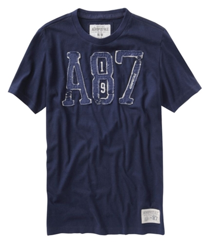 Aeropostale Mens Embroidered A87 Graphic T-Shirt navyblue S