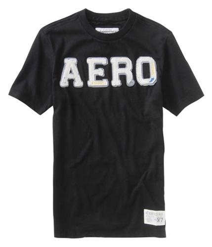 Aeropostale Mens Embroidered Aero Graphic T-Shirt black S