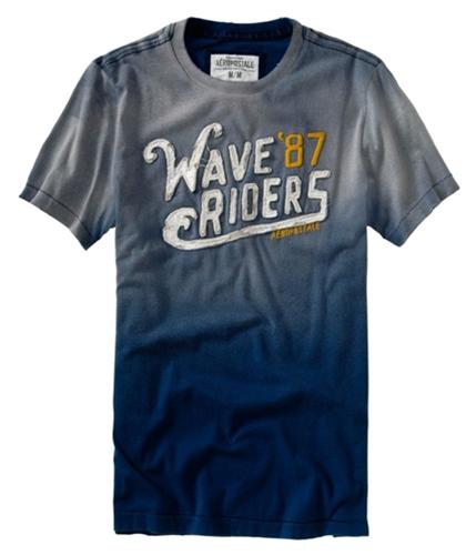 Aeropostale Mens Embellished Wave Riders Graphic T-Shirt lunablue S