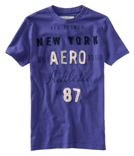 Aeropostale Mens Embellished New York Graphic T-Shirt vinepurple S