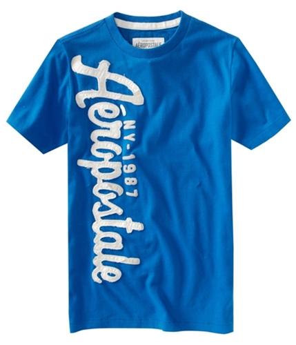 Aeropostale Mens Embellished Screen Print Graphic T-Shirt activeblue XS