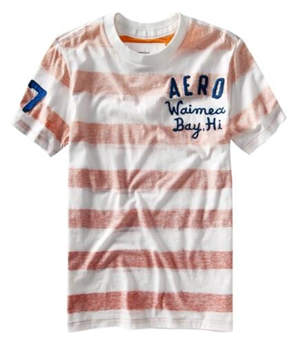 Aeropostale Mens Aero Waimed Bay, Hi Stripe Graphic T-Shirt bleachwhite XS