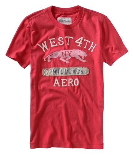 Aeropostale Mens West 4th Wildcats Aero Graphic T-Shirt watermelonred S