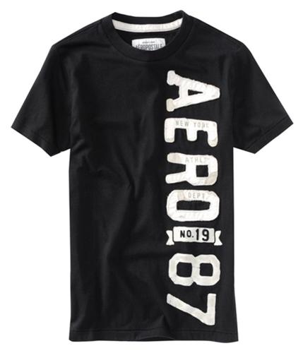 Aeropostale Mens Aero New York Vertical Graphic T-Shirt black XS