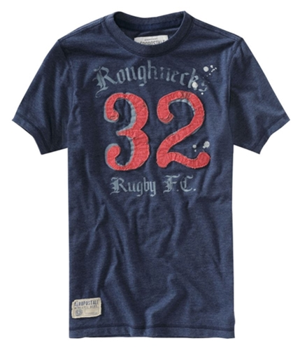 Aeropostale Mens Embroidered Roughnecks Rugby Fc Graphic T-Shirt navyni XS