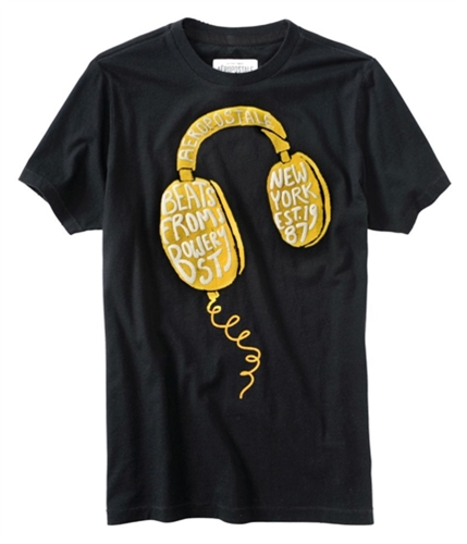 Aeropostale Mens Head Phones Puff Paint Embroidered Graphic T-Shirt black S